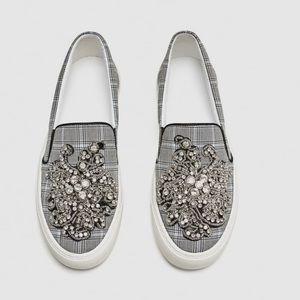 NWT Zara Beaded Plaid Platform Sneakers 36